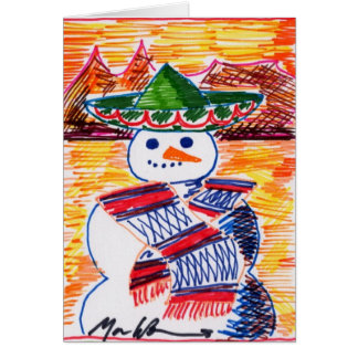 Snowman in Mexico On Christmas Break Card