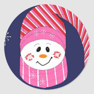 Snowman in Pink and Red Hat Round Sticker
