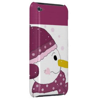 Snowman in Purple Hat and Scarf Barely There iPod Case