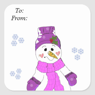 Snowman in Purple Hat and Scarf Square Sticker