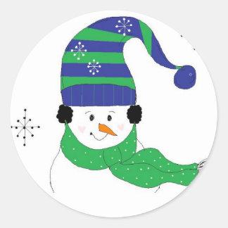 Snowman in Striped Hat Classic Round Sticker