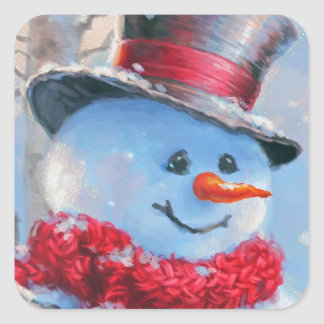 Snowman in the Woods Square Sticker