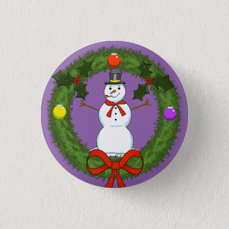 Snowman in Wreath Holiday Pin