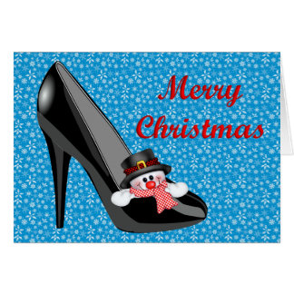 SNOWMAN INSIDE A BLACK HEEL SHOE GREETING CARD