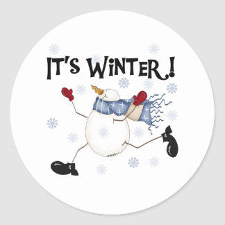 Snowman It's Winter Classic Round Sticker