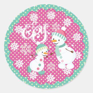 Snowman Joy Christmas Snowflakes Round Sticker