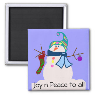 Snowman,  Joy n Peace to all magnet