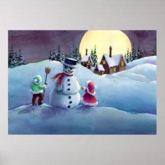 SNOWMAN & KIDS by SHARON SHARPE Poster