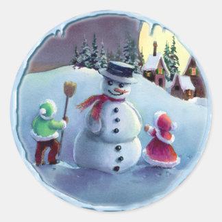 SNOWMAN & KIDS by SHARON SHARPE Round Sticker