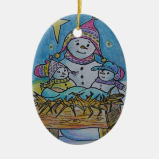 Snowman Knows the Real Reason for the Season Ceramic Oval Ornament