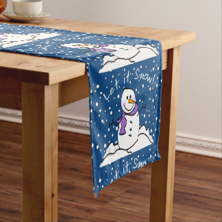 Snowman Let It Snow Table Runner