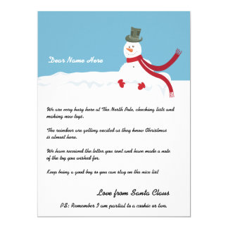 Snowman Letter From Santa Personalized Card
