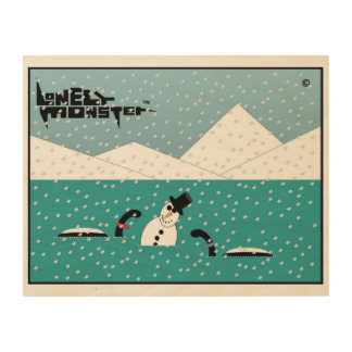 Snowman Lonely Monsters Wood Print