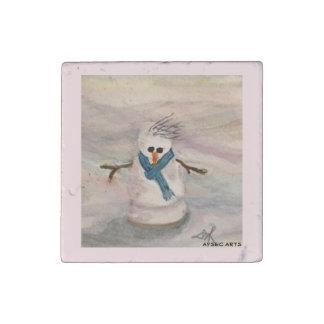 """Snowman"" Marble Magnet"