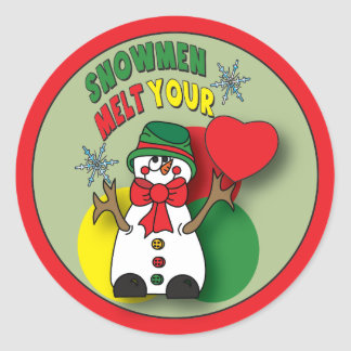 Snowman Melt Your Heart Classic Round Sticker
