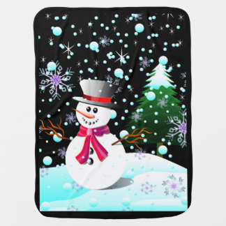 Snowman merry Christmas Baby Blanket