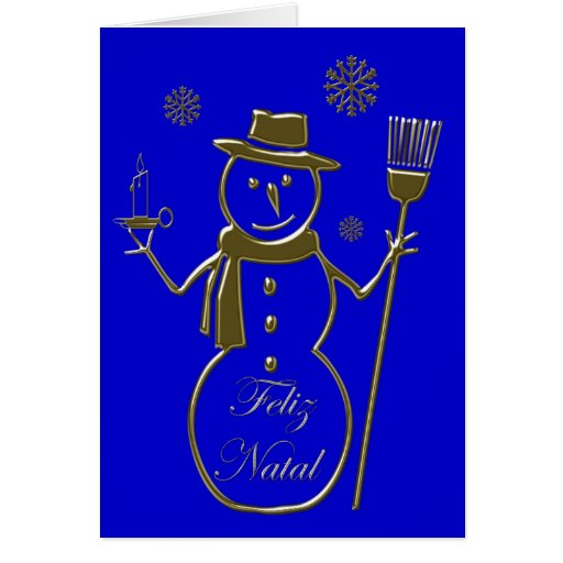Snowman Merry Christmas Feliz Natal Portuguese Greeting Cards