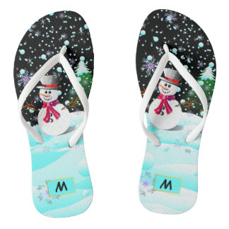 "Snowman ""Merry Christmas"" personalised monogram Flip Flops"