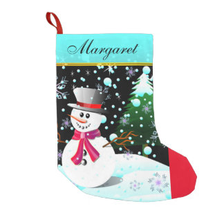 """Snowman """"Merry Christmas"""" personalised Small Christmas Stocking"""