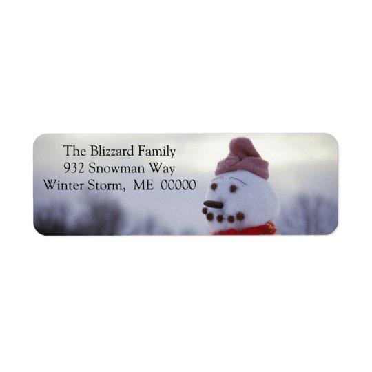 Snowman Merry Xmas Envelope Address Sticker