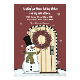 Snowman Moving Announcement Card