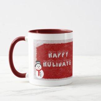Snowman Mug Red