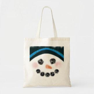 Snowman mug shot tote bag