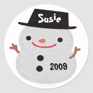 Snowman Name Tag Gift Sticker