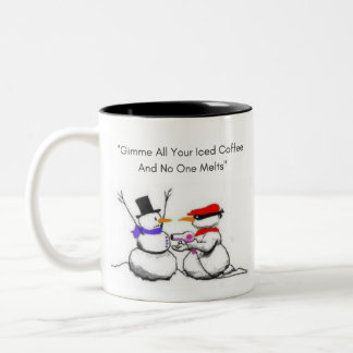 Snowman No One Gets Hurt 11oz Two Tone Coffee Cup