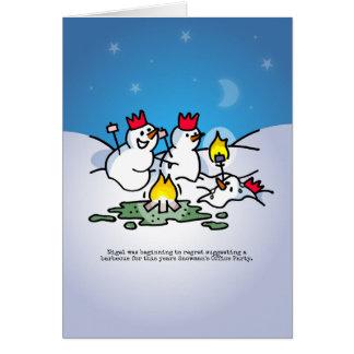 Snowman office party Christmas card. Card