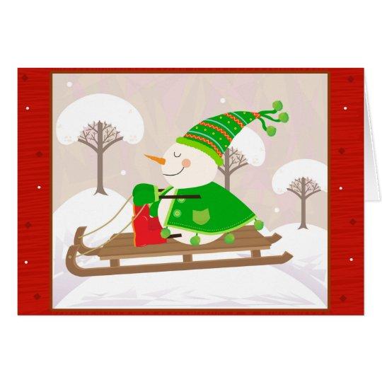 Snowman on a sled card