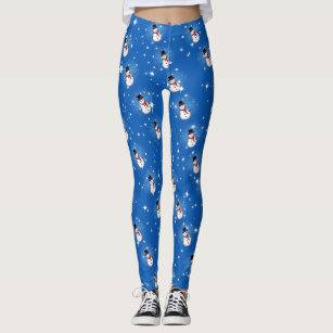 Snowman on Blue (or your colour) Leggings