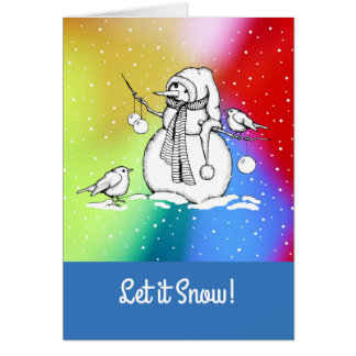 Snowman on Multi-Colored Background, Snowflakes Card