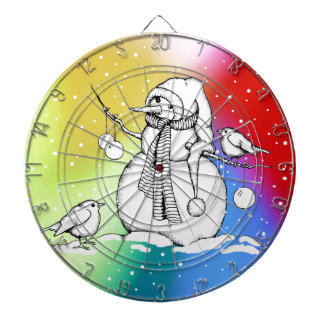 Snowman on Multi-Colored Background, Snowflakes Dartboard With Darts