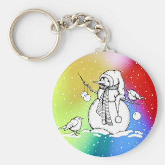 Snowman on Multi-Colored Background, Snowflakes Keychain