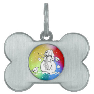 Snowman on Multi-Colored Background, Snowflakes Pet Name Tags