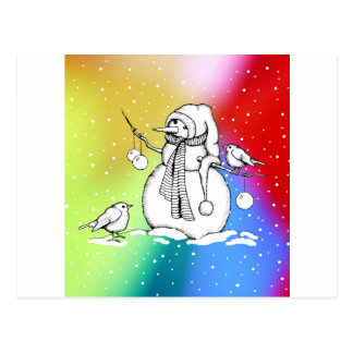 Snowman on Multi-Colored Background, Snowflakes Postcard