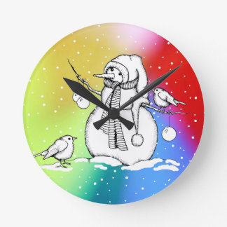 Snowman on Multi-Colored Background, Snowflakes Round Clock