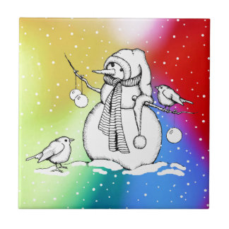 Snowman on Multi-Colored Background, Snowflakes Tile