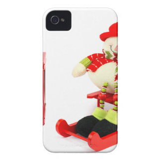 Snowman on sleigh with red lantern iPhone 4 case