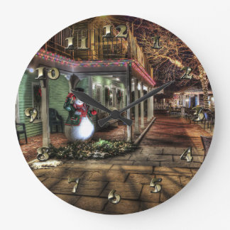 Snowman on the Porch in Winter Wonder Land Large Clock