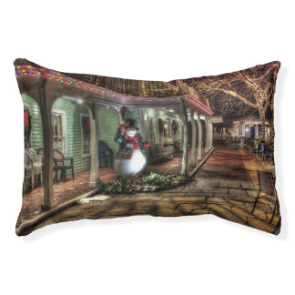 Snowman on the Porch in Winter Wonder Land Pet Bed