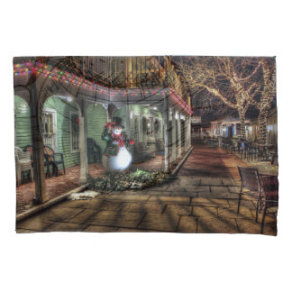 Snowman on the Porch in Winter Wonder Land Pillowcase