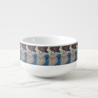 snowman painting soup mug