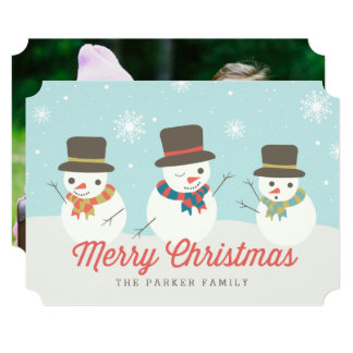 Snowman Party Custom Photo Cards