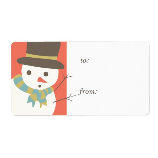 Snowman Party Gift Tag Labels