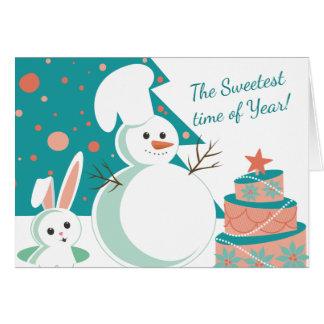 snowman pastry chef bakery Christmas artisan cake Card