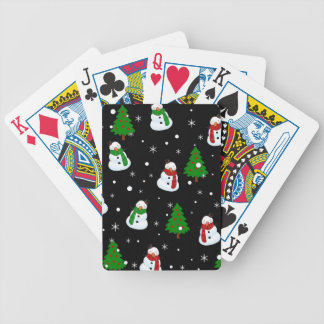 Snowman pattern bicycle playing cards