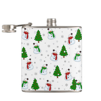 Snowman pattern hip flask