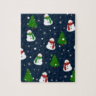 Snowman pattern jigsaw puzzle